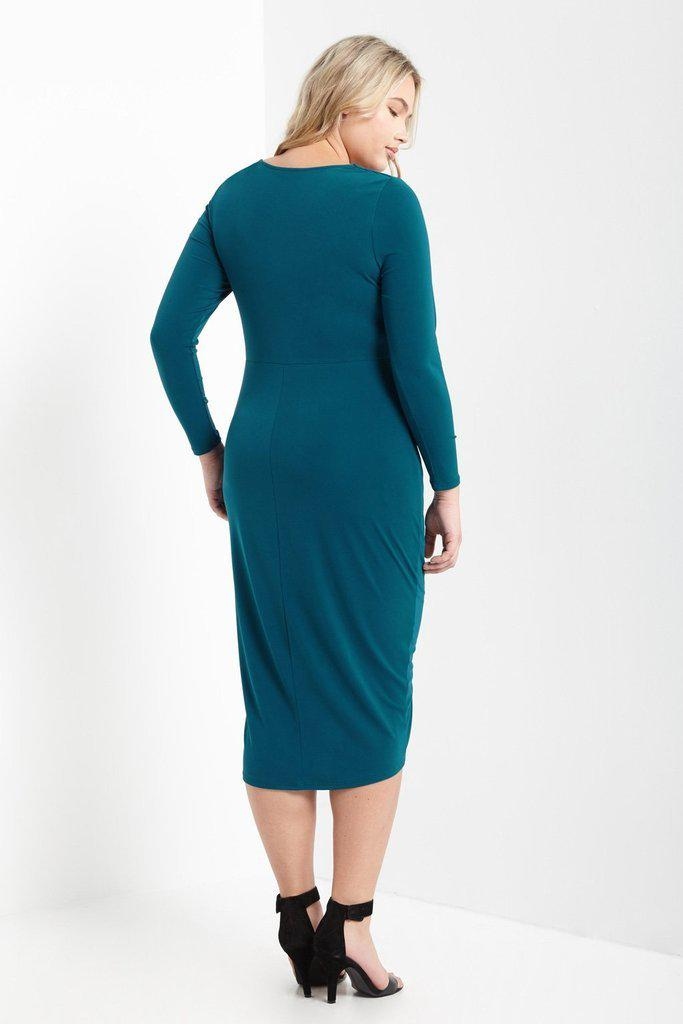 Mandy Front Knot Midi Dress Teal-SOLD-SOLD-Daring Diva Australia
