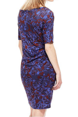 M&S Blue Floral Drape Dress-SOLD-SOLD-Daring Diva Australia