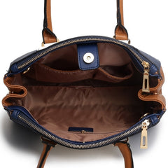SUTTON CENTER STRIPE SATCHEL HANDBAG NAVY-Handbags-ML-Daring Diva Australia