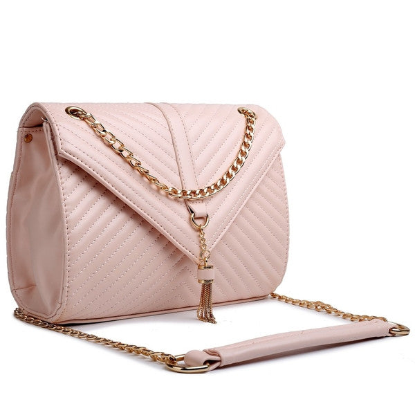 Z-QUILTED CHAIN SHOULDER BAG PINK-SOLD-SOLD-Daring Diva Australia