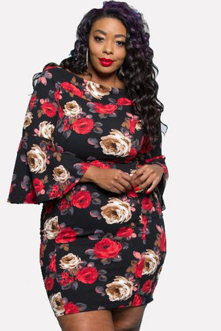 Shannon Floral Bodycon Dress-Dresses-5C-Daring Diva Australia