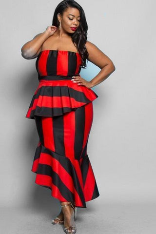 Kensington Stripe Peplum Dress-Dresses-5C-Daring Diva Australia