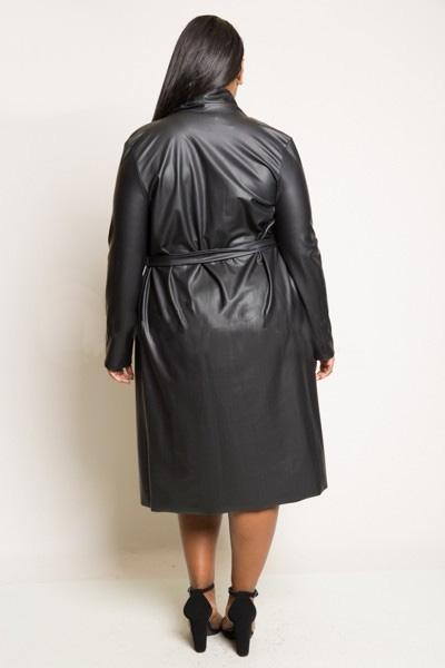 Long Length Faux Leather Jacket | Plus Size Womens Trench ...