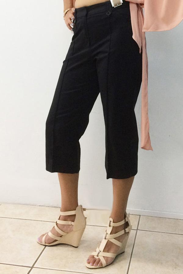 Double Button Cropped Trousers-Clearance-Clearance-Daring Diva Australia