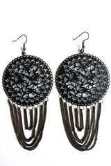 Tassel Design Drop Earrings-Jewellery-Jewellery-Black-Daring Diva Australia