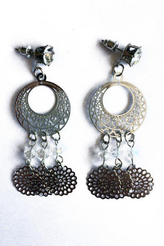 Triple Dangle Hoop Earrings-Jewellery-Jewellery-Silver-Daring Diva Australia