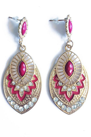 Oval Stone Drop Earrings-Jewellery-Jewellery-Daring Diva Australia