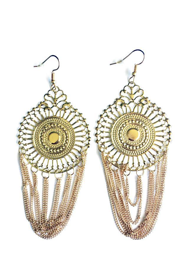 Centre Circle Drop Earrings-Jewellery-Jewellery-Gold-Daring Diva Australia