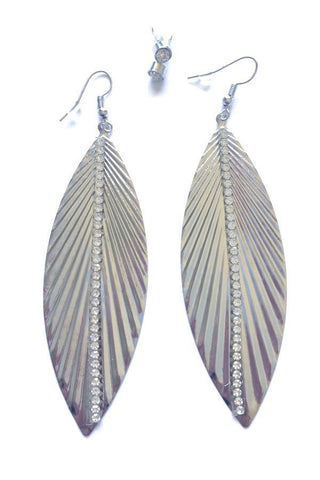 Leaf Shape Diamante Earrings-Jewellery-Jewellery-Silver-Daring Diva Australia