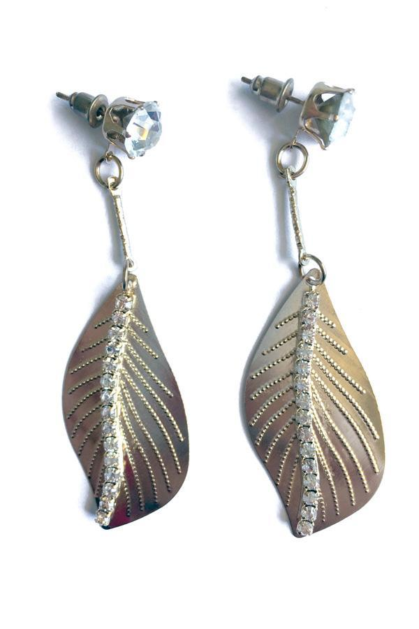 BOWED LEAF DIAMANTE EARRINGS-Jewellery-Jewellery-Gold-Daring Diva Australia