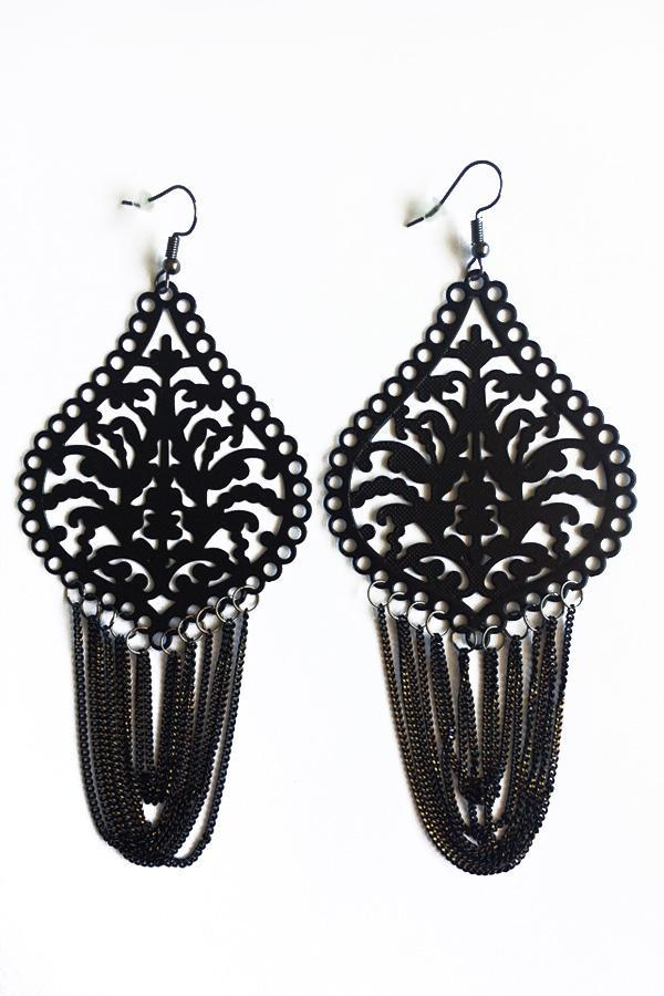 Loop Tassel Design Earrings-Jewellery-Jewellery-Silver-Daring Diva Australia