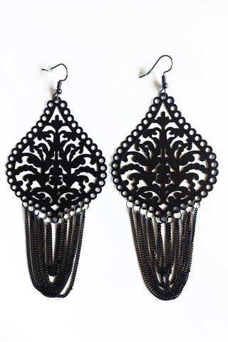 Loop Tassel Design Earrings-Jewellery-Jewellery-Black-Daring Diva Australia