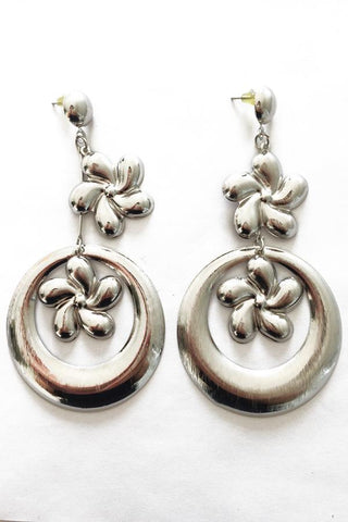 Flower Hoop Drop Earrings-Jewellery-Jewellery-Daring Diva Australia