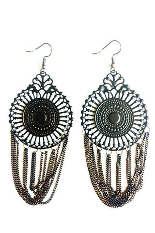 Centre Circle Drop Earrings-Jewellery-Jewellery-Black-Daring Diva Australia