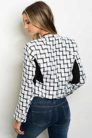 BLACK CHECKERED BLAZER-Outerwear-WFSJ-Daring Diva Australia