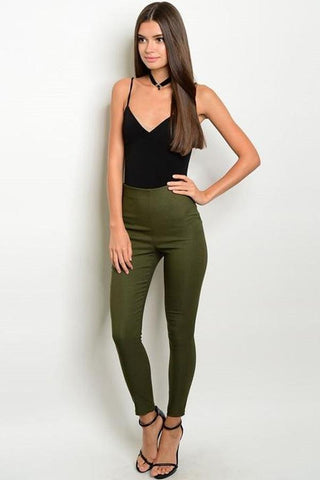OLIVE SKIN TIGHT PANTS-Clearance-WFSJ-10-Daring Diva Australia