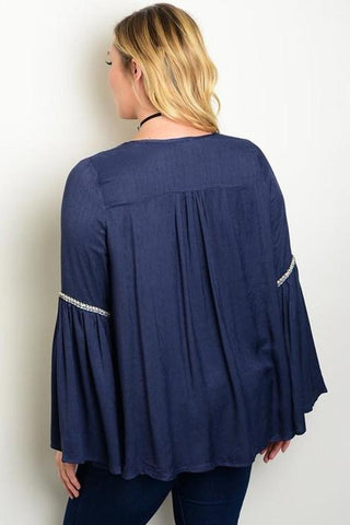 BELL SLEEVE EMBROIDERED TOP-SOLD-SOLD-Daring Diva Australia