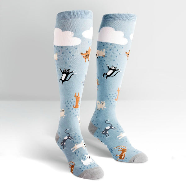 SOCK IT TO ME Knee High Womens Raining Cats and Dogs