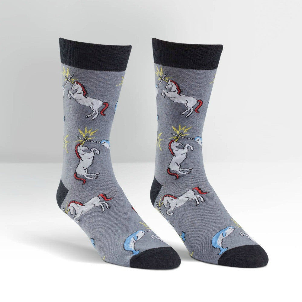 SOCK IT TO ME Crew Mens Unicorn vs Narwhal