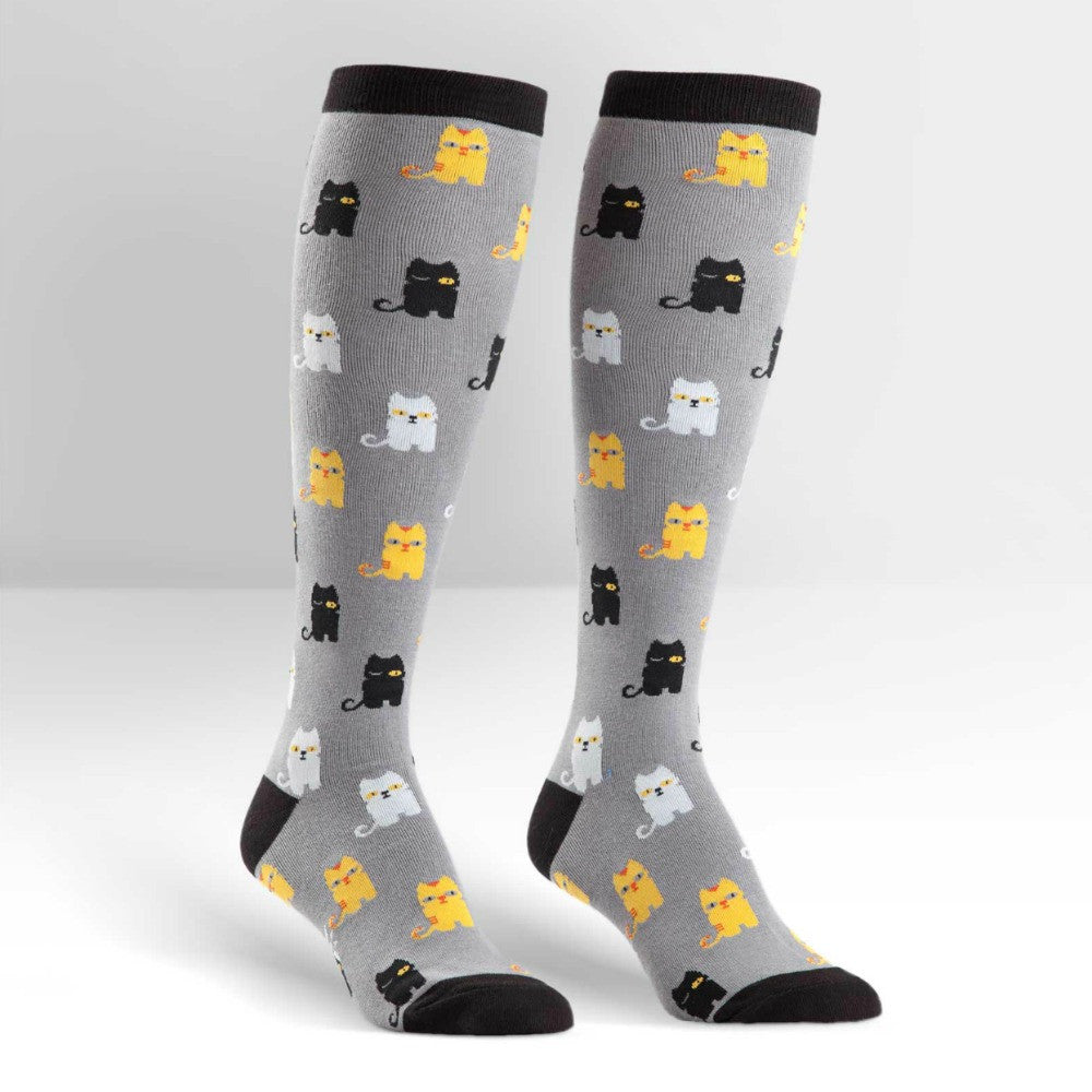 SOCK IT TO ME Knee High Womens Winking Cats
