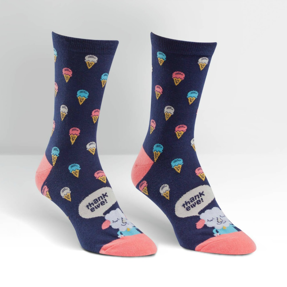 Sock It To Me women's crew socks, Thank Ewe