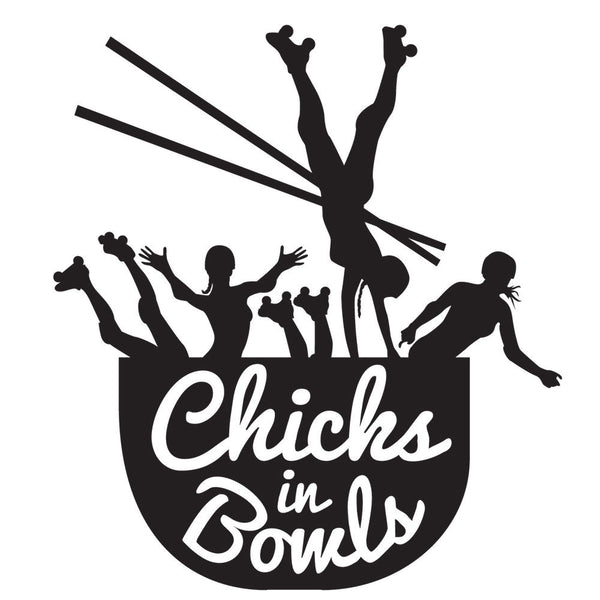CHICKS IN BOWLS Die Cut Sticker