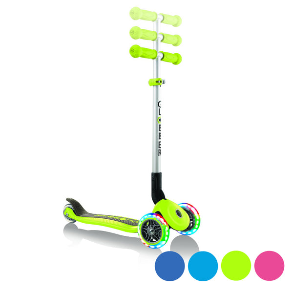 Globber-Primo-Lights-Foldable-Three-Wheel-Scooter-Colour-Options
