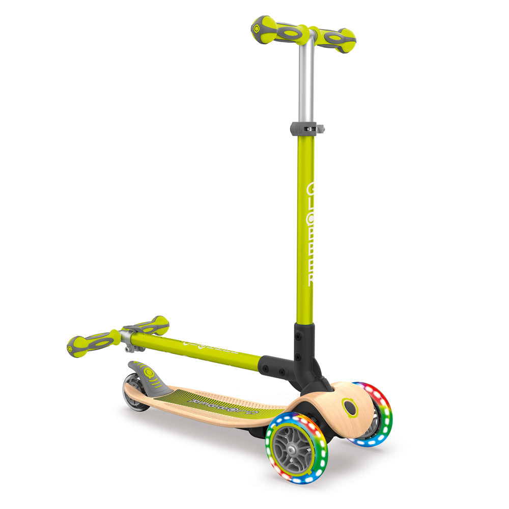 Globber-Primo-Foldable-Wood-Light-Up-Scooter-Green