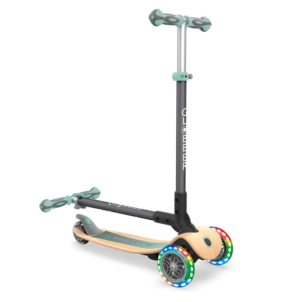 Globber-Primo-Foldable-Wood-Light-Up-Scooter-Mint