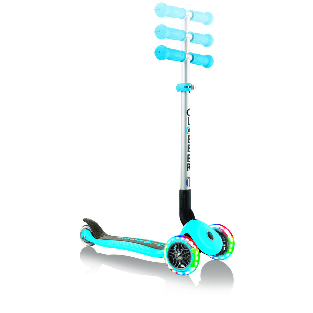 Globber-Primo-Lights-Foldable-Three-Wheel-Scooter-Sky-Blue