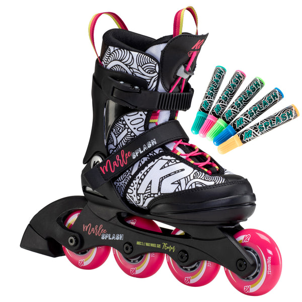 K2-Marlee-Splash-21-Kids-Adjustable-Inline-Skate-with-MArkers