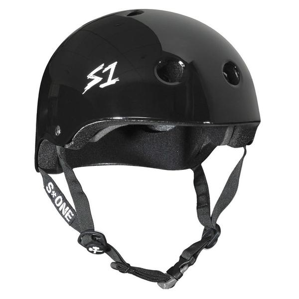 S-One Certified Bike Skate Scooter Helmet Gloss Black