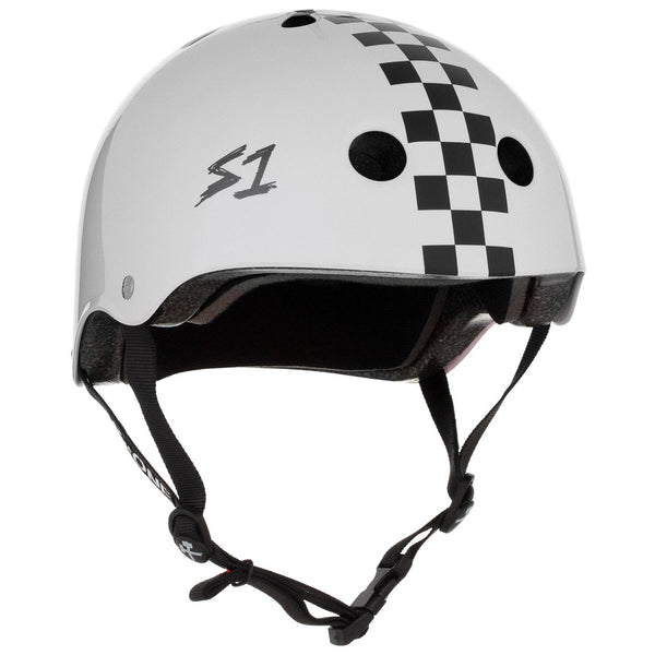 S-ONE Lifer Helmet Gloss White Black Checkers
