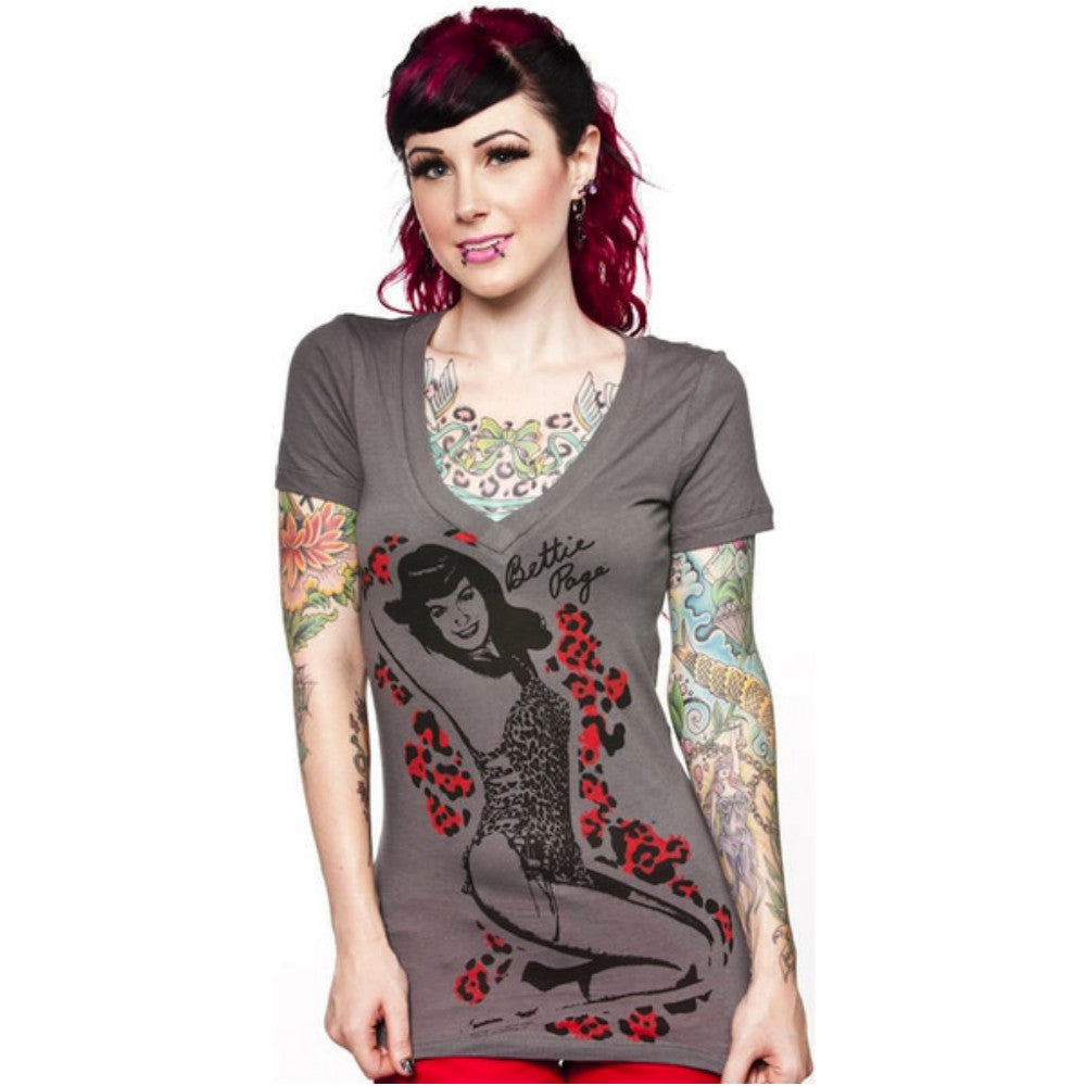 SOURPUSS Bettie Page Animal V-Neck T-shirt