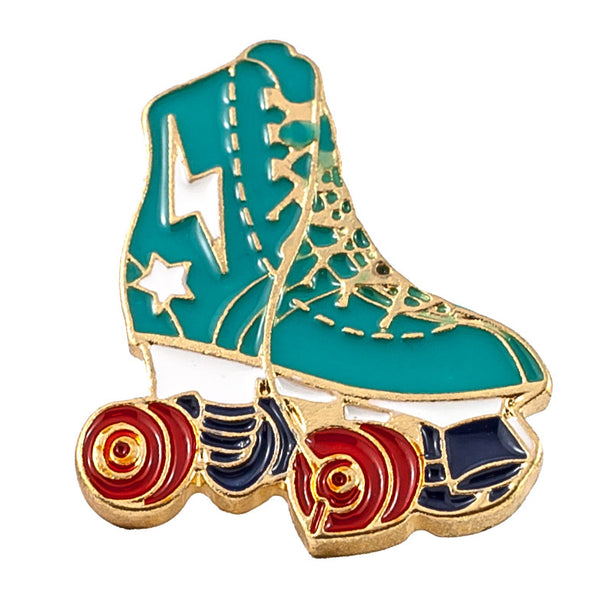 Rollerskate Jewellery Pin with Red Wheels
