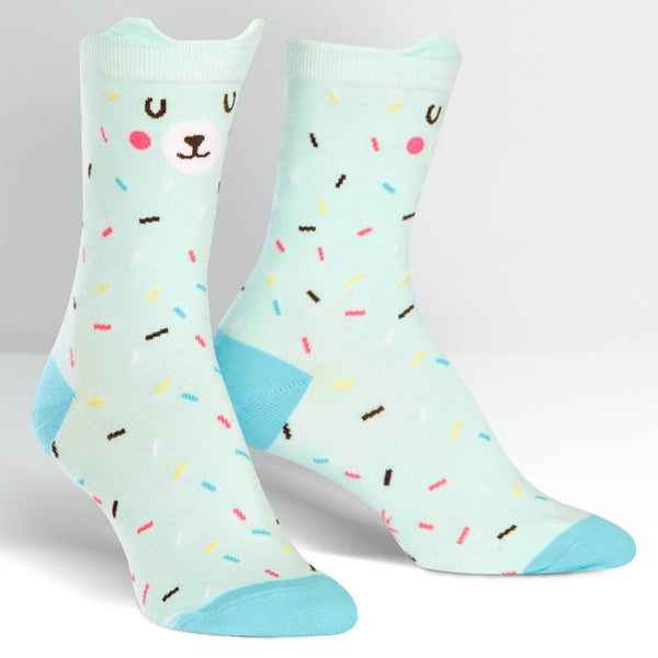 SOCK IT TO ME Bearly Sprinkled womens crew socks