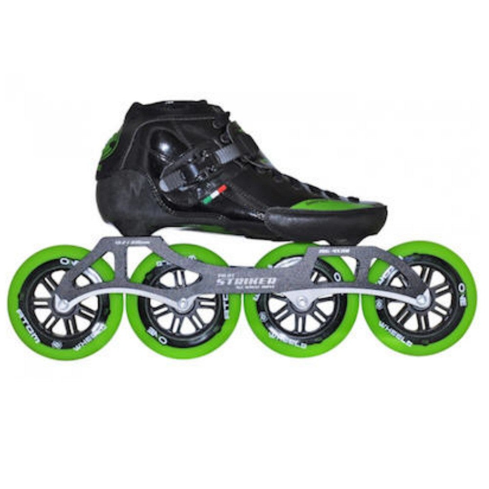 LUIGINO Strut 4 Wheel Inline Speed Skate Package - Black