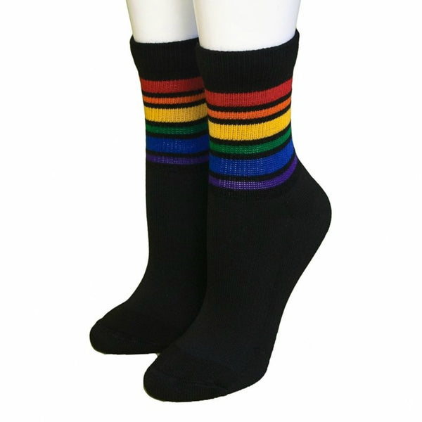 Pride Brave Low Cute tube socks, black with rainbow