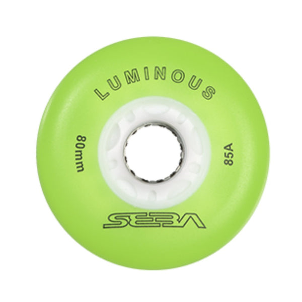 SEBA Luminous Inline Skate Wheel 4pack 72mm green