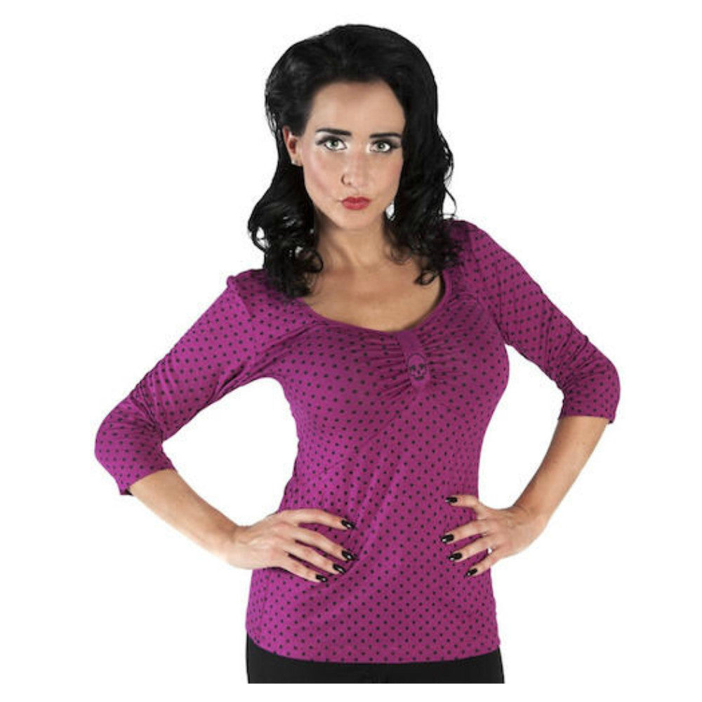 SOURPUSS Polka Skull Wanda Top