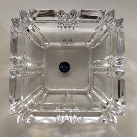 Ashtray Glass Square 16cm Steep Cut