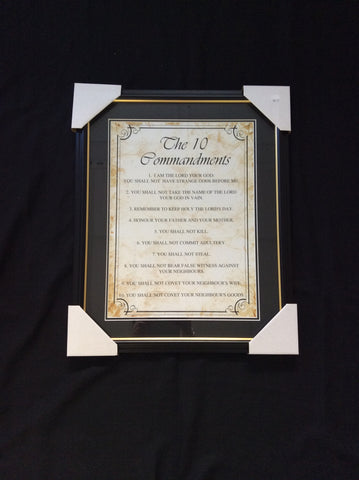 Framed 10 Commandments Plaque