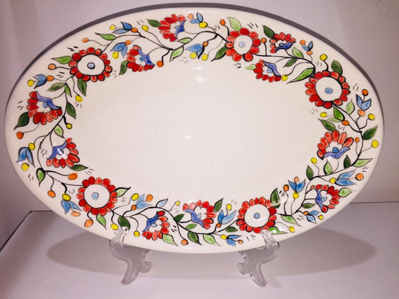 Ceramic Oval Plate - Flowers