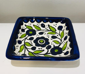 Small Ceramic Square Plate - Blue Flower