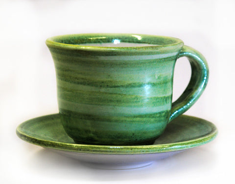 Coffee Cup and Saucer Green