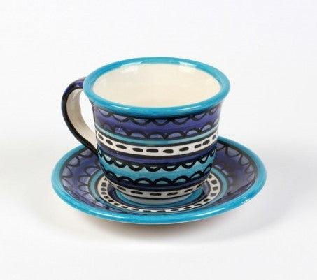 Cup and Saucer (large) - Light & Dark Blue