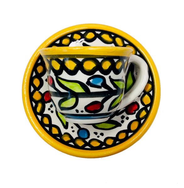 Coffee Cup and Saucer (small) - Yellow