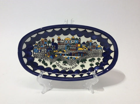 Jerusalem Blue Oval Tray