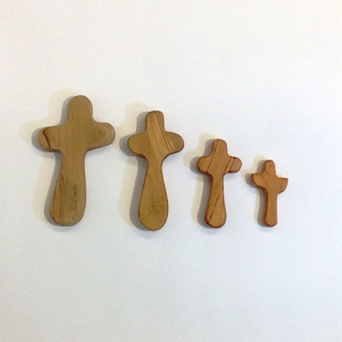 Olive Wood Holding Cross (small)