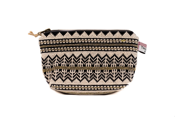 Embroidered Purse - Cream with Gold Thread
